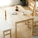 【無垢のダイニングテーブ】木の温もり溢れる4人掛けテーブル