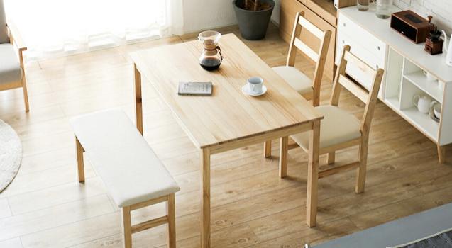 「【無垢のダイニングテーブ】木の温もり溢れる4人掛けテーブル」のアイキャッチ画像